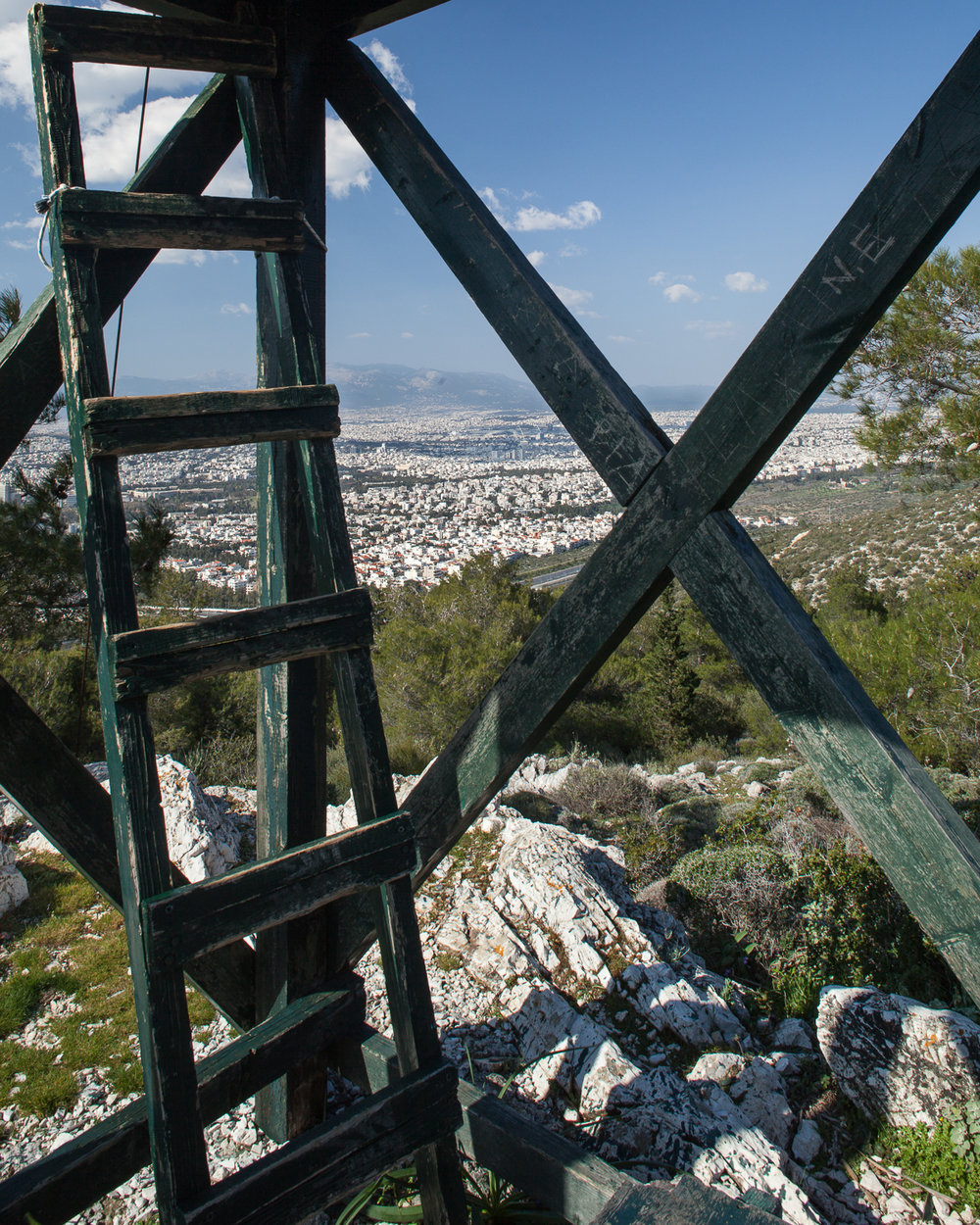 Fire lookout tower on Mt. Hymettus. The only forested land remaining near Athens is on Mt. Hymettus, though even this has come under severe threat in recent years.