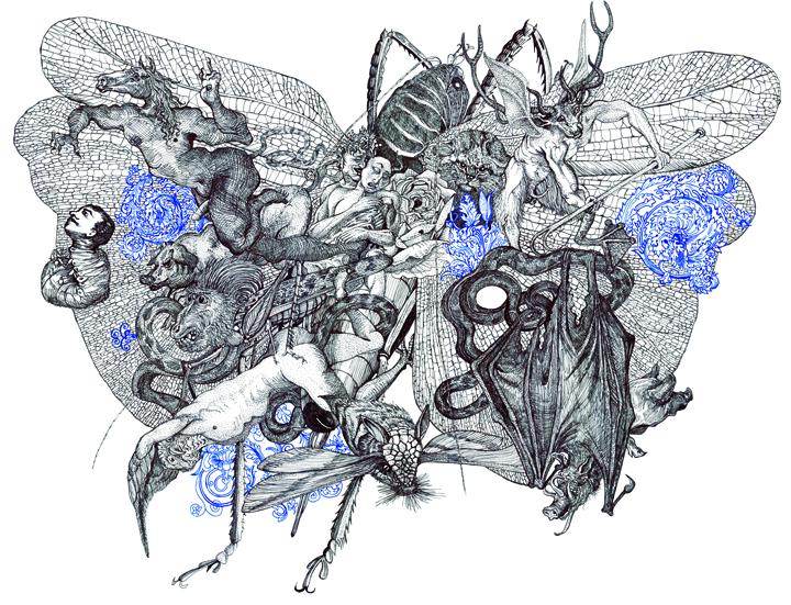 Andrew Nicholls ,  Protect Me, Satan , ink on paper, 2005.