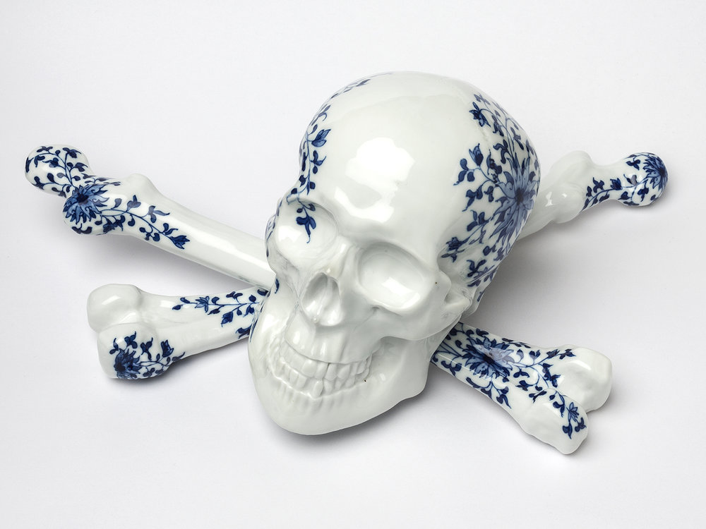 Untitled (cobalt skull),  Andrew Nicholls in   collaboration with Yu Xuan and Jingdezhen artisans, hand painted cobalt on porcelain, 30 x 35 x 35 cm, 2016. Photograph by Bewley Shaylor.