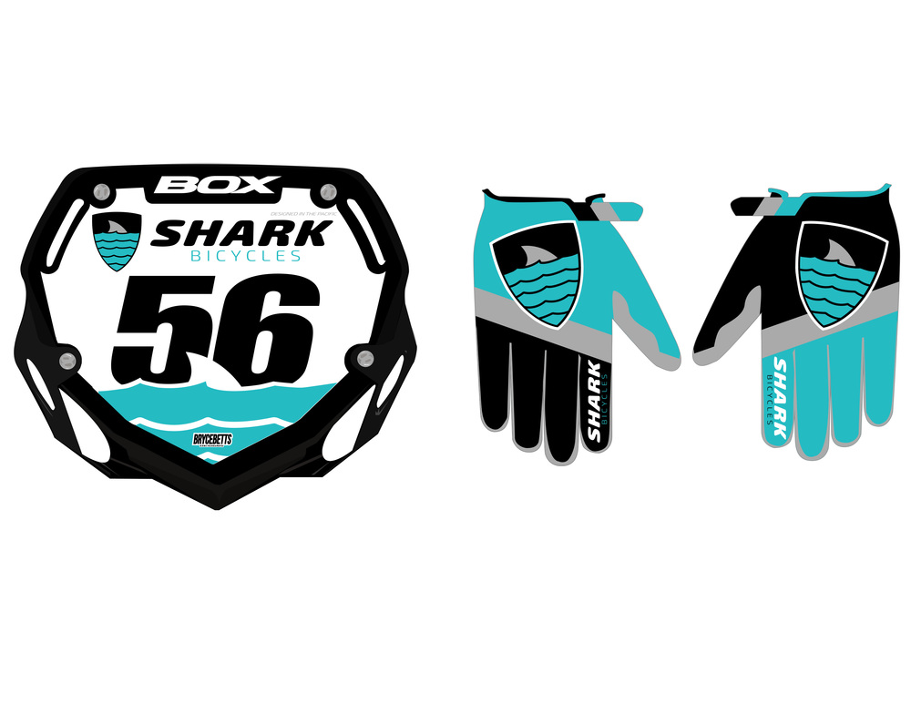 Shark Bicycles Numberplate and Gloves