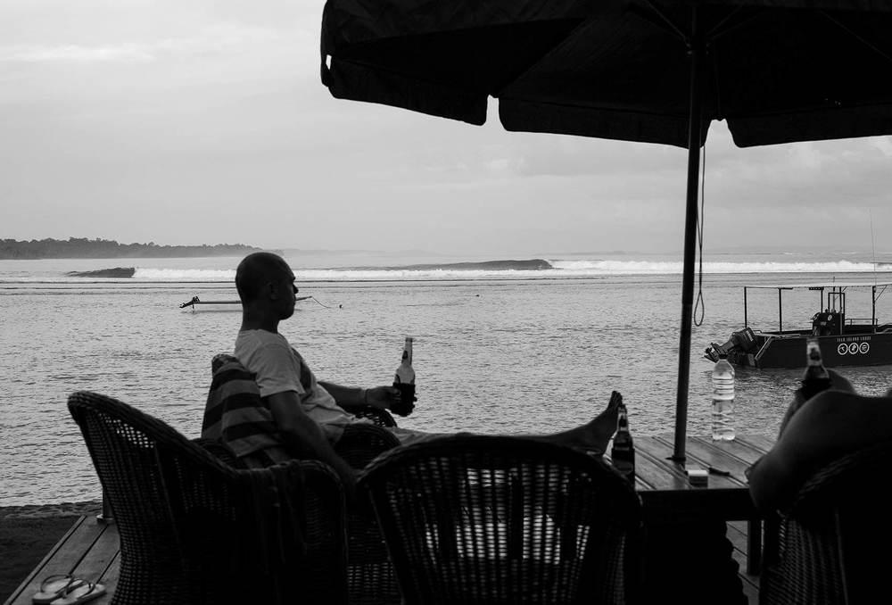 Enjoying Telo Island Lodge with a beer