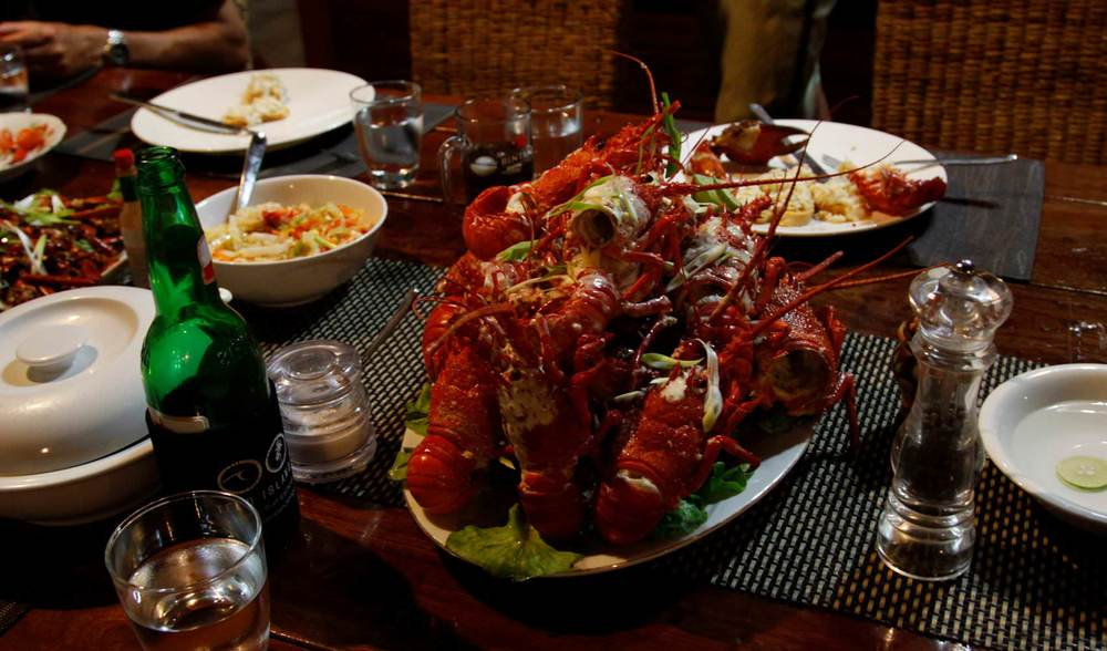 Lobster feast indonesia surf trip