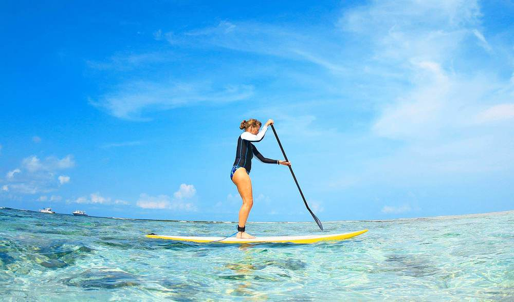 Stand up paddleboard surfing indonesia