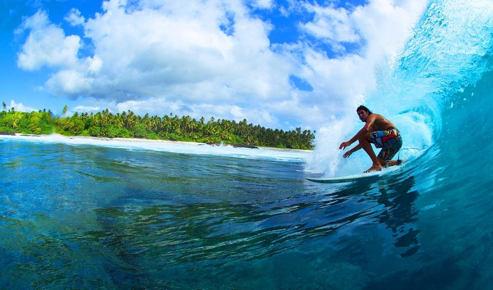 Tropical barrel uncrowded surf luxury