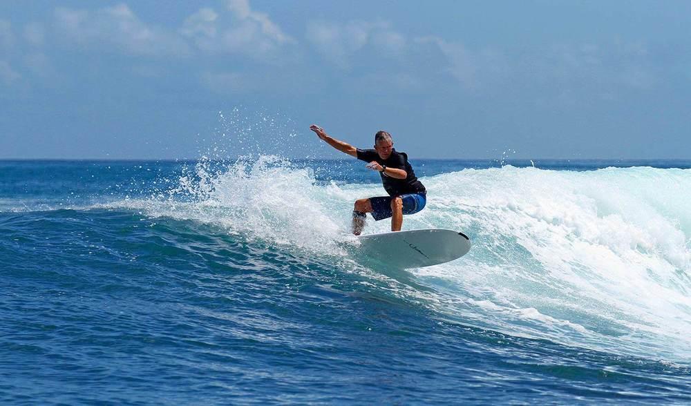Pinnacles on Telo Surf Indonesia longboard turn
