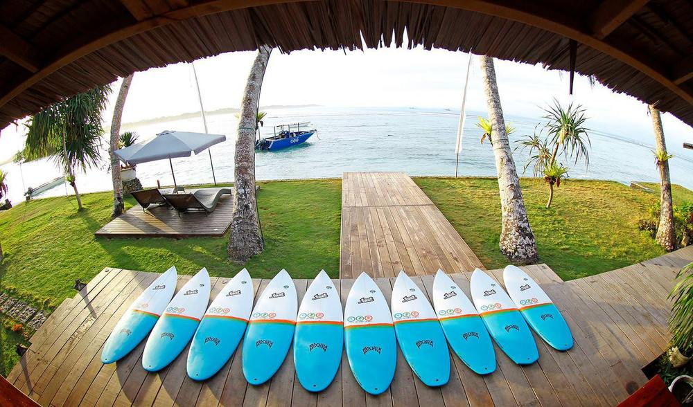 Lost eco surfboards for rent at telo island lodge