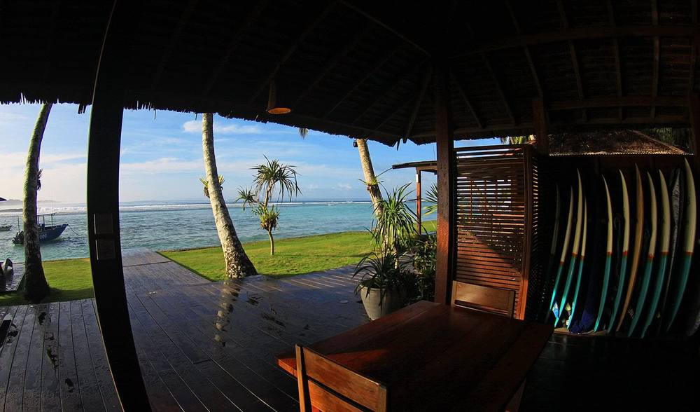 telo island lodge surf shack board rental storage indonesia