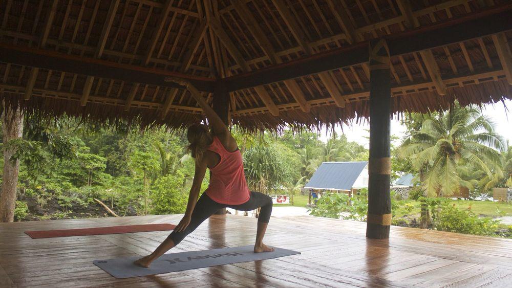 Yoga Pavilion at Aganoa Lodge Samoa Wellness surf trip