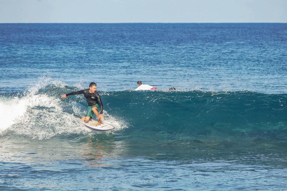 Fun morning surf at the Fanning Left, Pegasus Lodges.jpg
