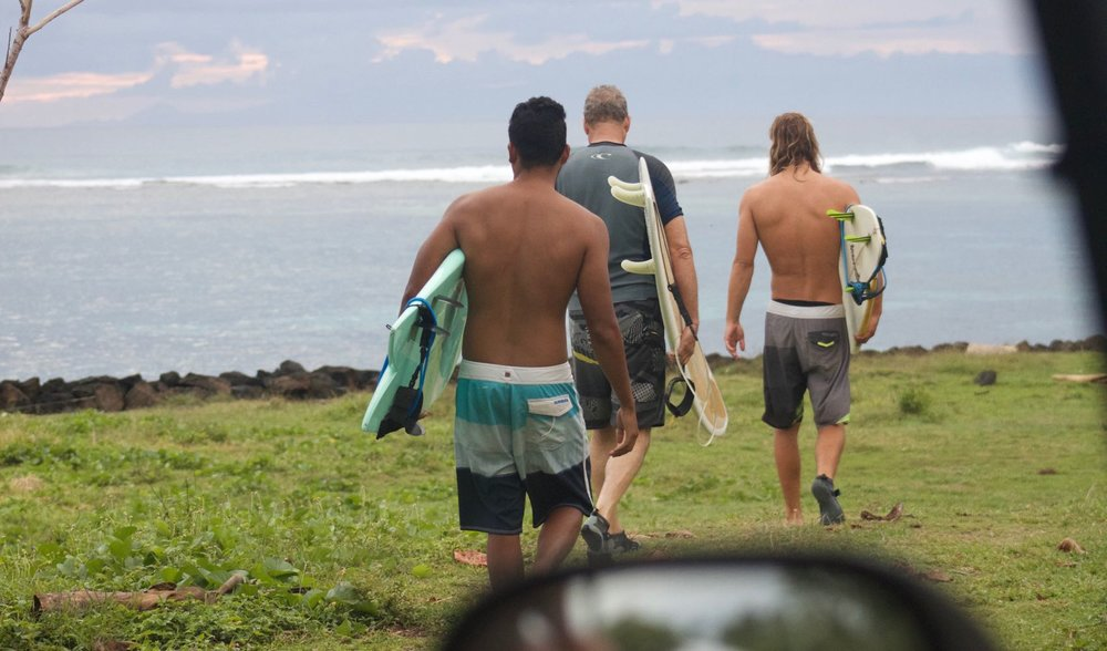 The boys geared up for another uncrowded surf.