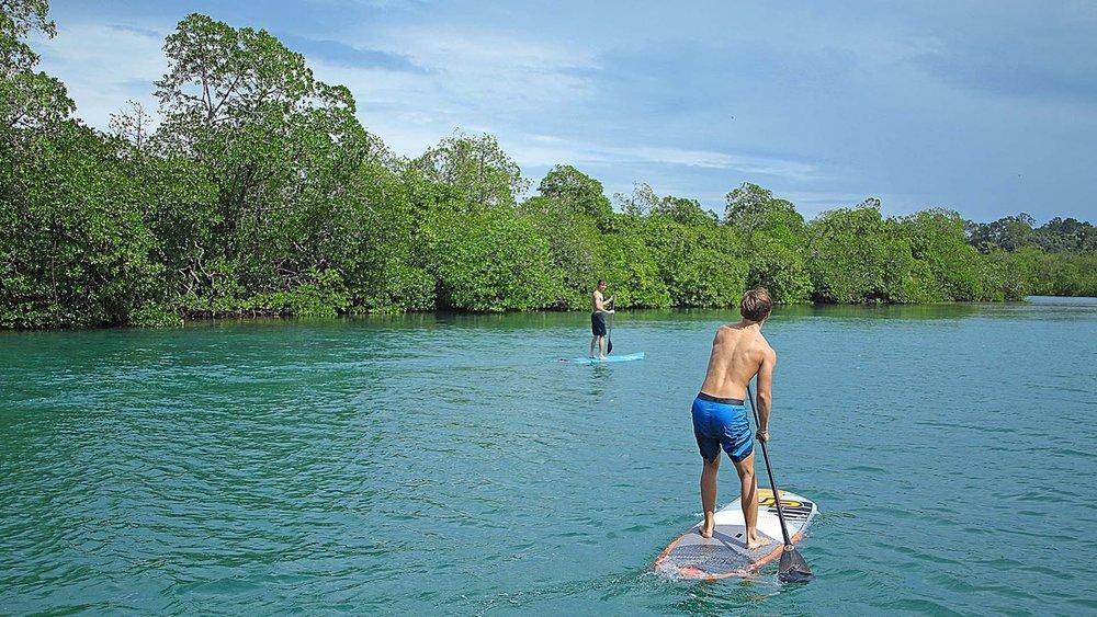 Paddle boarding carelessly, sun shining.