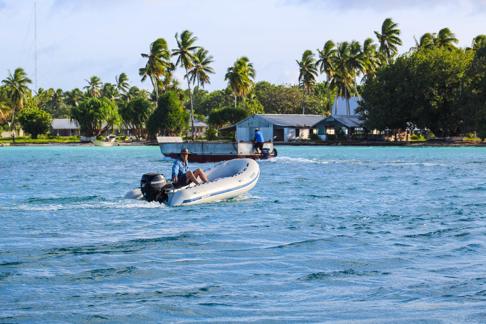 Returning to our island paradise after a day on the water.