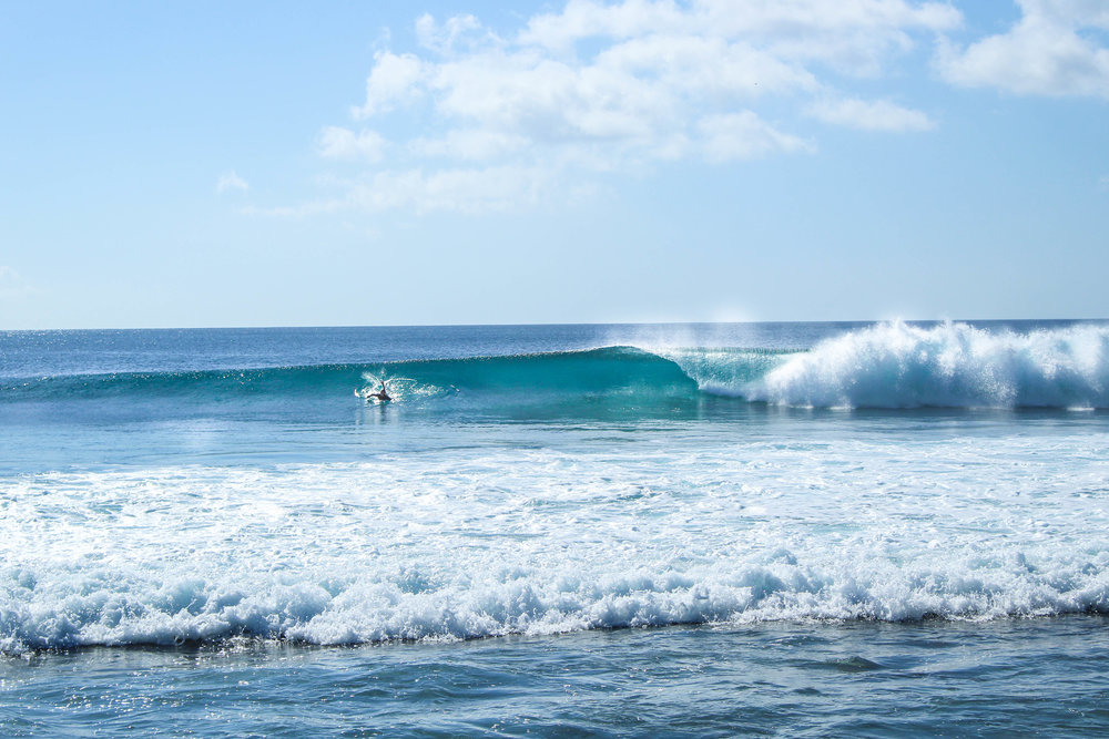 It's hard to pick what wave to surf out of every set with nobody else around.