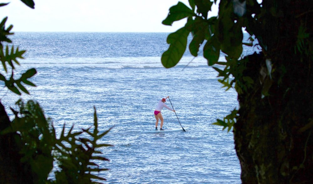 A lazy paddle board in the lagoon.