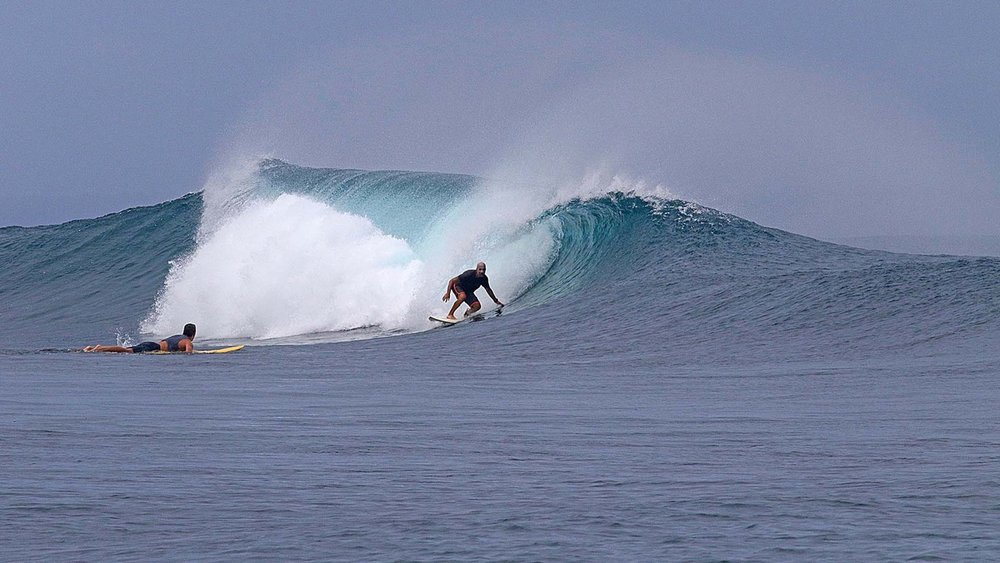 Dave stalling for the barrel.