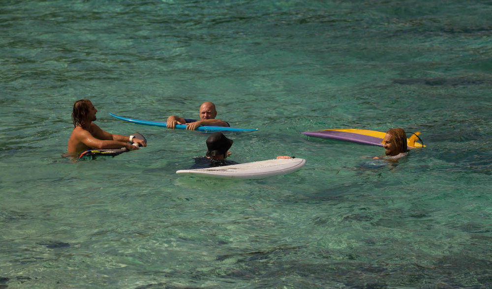 Everyone loves winding down in the lagoon after a surf.