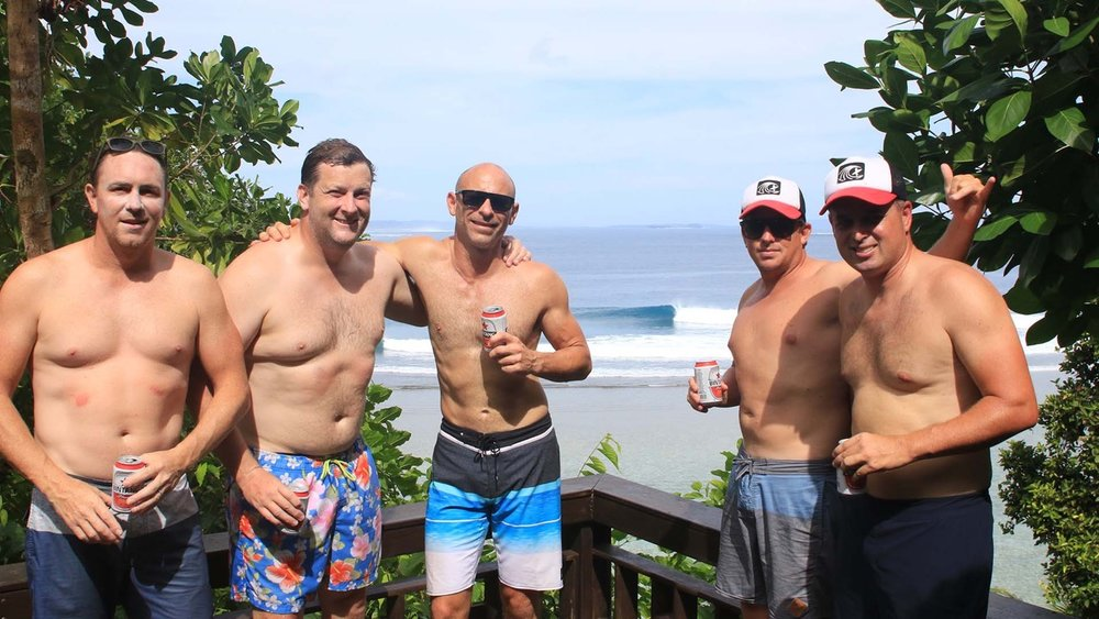 The boys enjoying a beer on our Tsunami Hill watching the other guests destroy Max's Right!