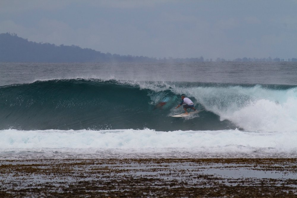 Clint pulling into another tube.