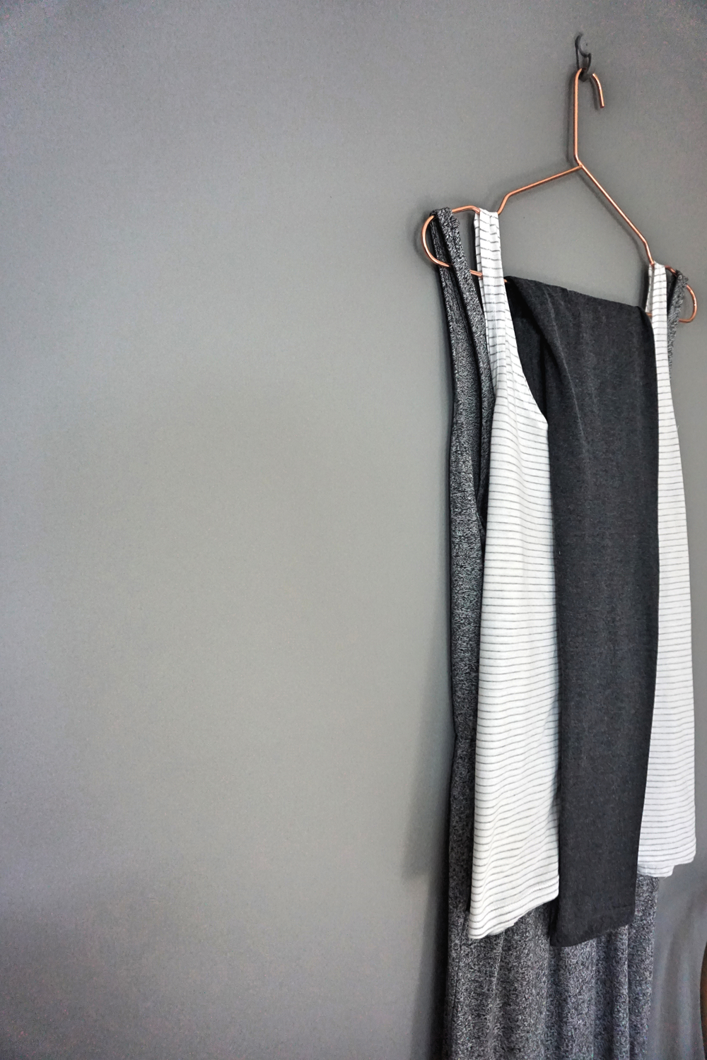 1. Marl Grey Jersey Jumpsuit. 2. Pencil Stripe Cotton Vest. 3. Charcoal Leggings all H&M.