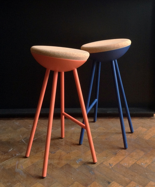 Coral Navy Cork Stool