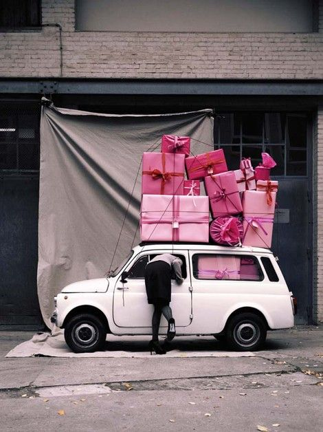 Pile of pink presents