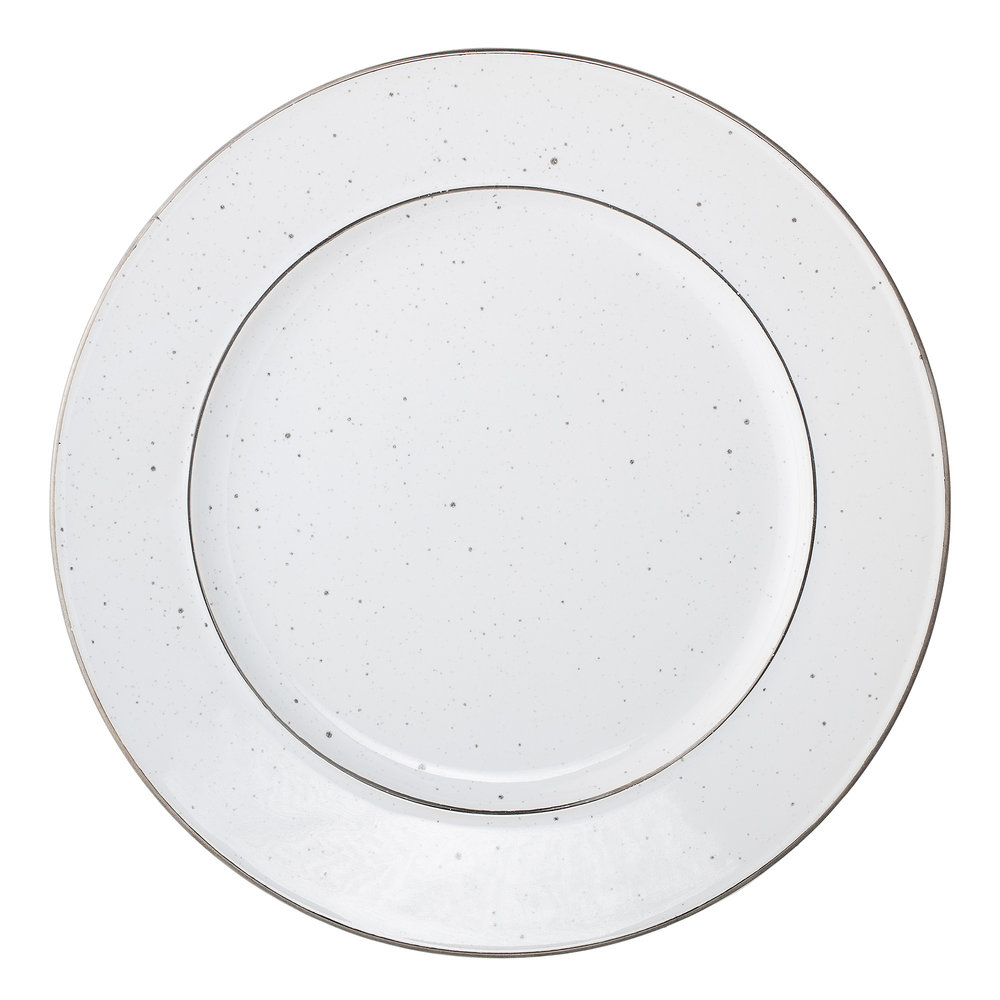 #007 White Fleck Dinner Plate    25cm Hire Price - £5 Minimum Order 3 Current Stock Available 60