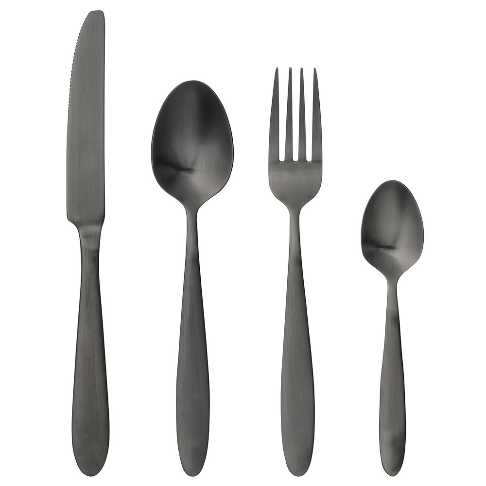 #014   Black Cutlery    K:L 22.5cm F:L 20cm S:L 19.4cm TS:L 14.5cm Hire Price - £1 (per piece) Minimum Order 10  Current Stock Available 60