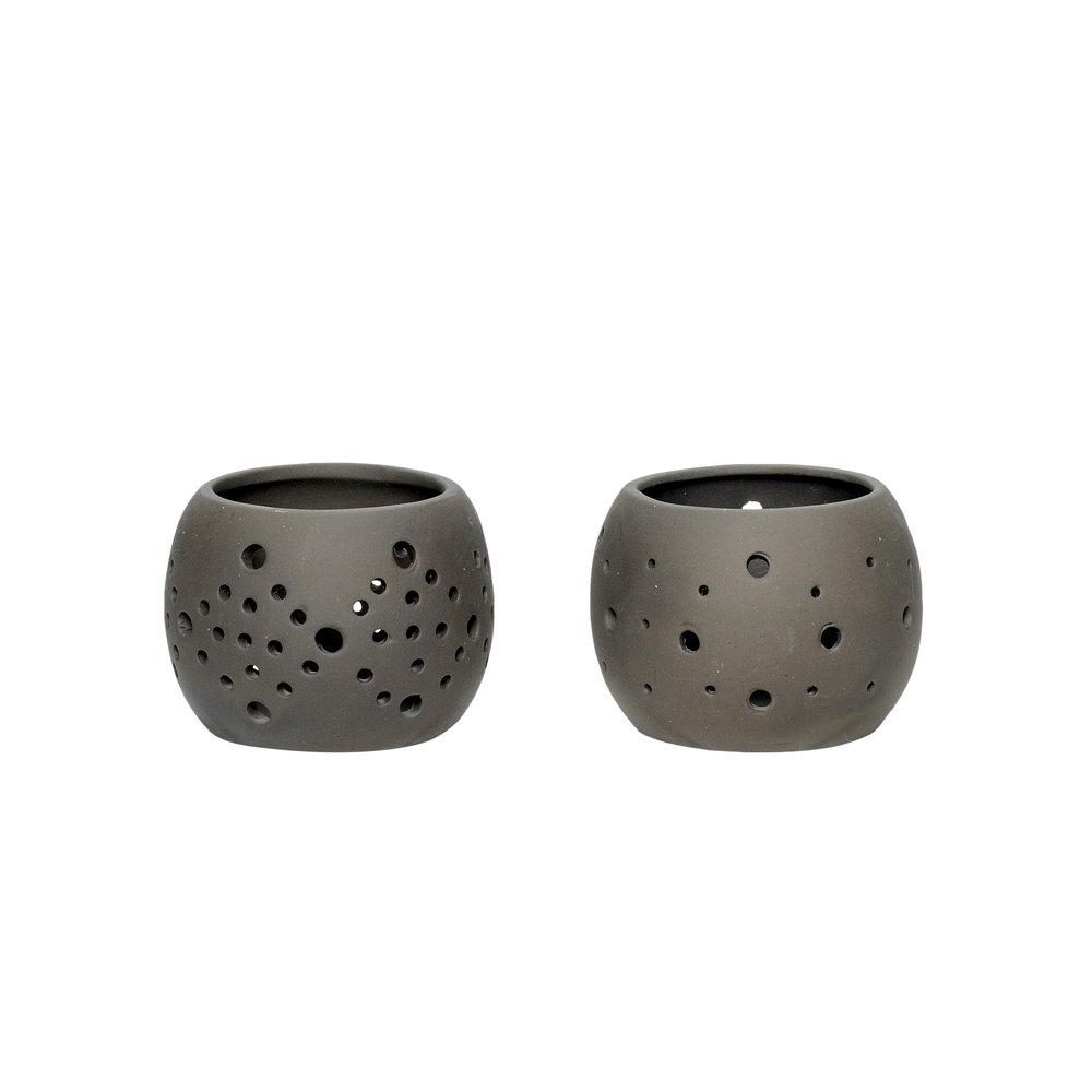 #031 Black Ceramic Tealight Set    8cm x H6cm Hire Price for Set - £3.50 Minimum Order 10 per set  Current Stock Available 36 per set