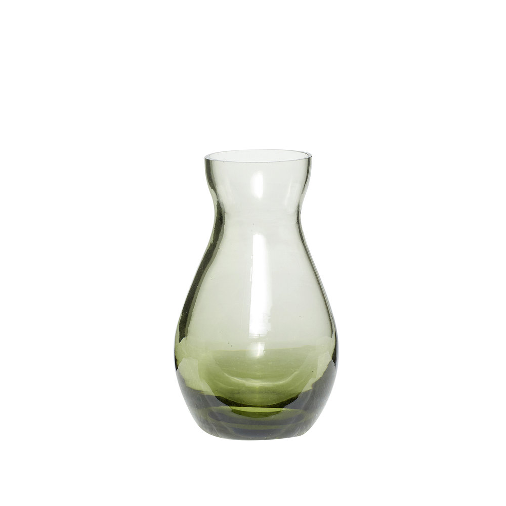 #032 Recycled Green Glass Vase    5cm x Hcm Hire Price - £1.50 Minimum Order 10 Current Stock Available 24