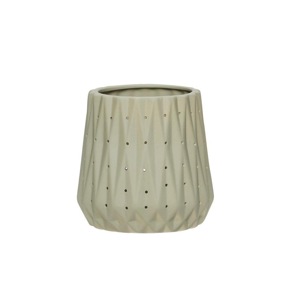 #033 Grey Ceramic Tealight Holder    8cm x H8cm Hire Price - £1.50 Minimum Order 12 Current Stock Available 36