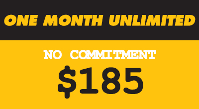 ONE MONTH UNLIMITED CLASSES  (NO COMMITMENT)  •Unlimited Classes  • Live heart rate tracking •One month of unlimited classes •No commitment •Month starts on your first booked class