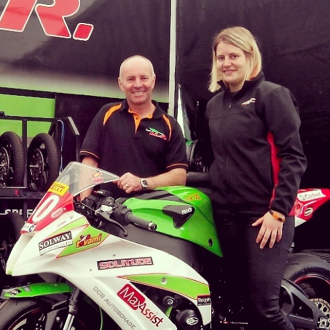 Nadieh and Team ILR owner/manager Ian Lougher with the Ninja ZX-10R at Brands Hatch in 2015.