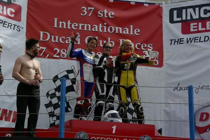 The 2016 DCR Ladies Cup podium, P1 Nadieh Schoots, P2 Maudie Veenstra, P3 Deborah Verhoeks.