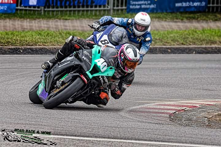 Getting chased down by the #84 wildcard rider in race 1. Photo by Andi Heinze.