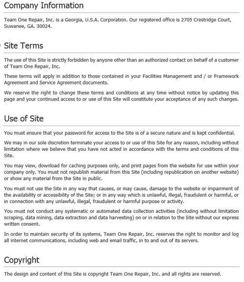 Team One Repair Incstomer Portal