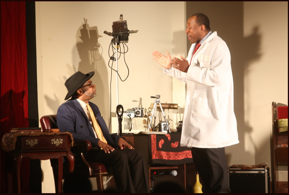 Fulton C. Hodges and Rudolph Shaw in a scene from 'Sizwe Bansi is Dead.'