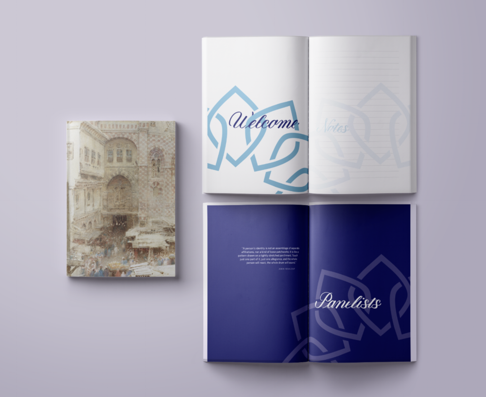 "Client: New Levant Initiative Art Direction & Design: Amy Fuller Type: Editorial ""Welcome"", ""Notes"", ""Panelists"" custom lettering by me"