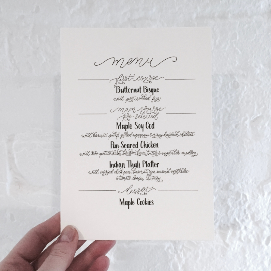Client: Tory Williams & Jonathan Cedar Project: Custom Wedding Menu Printed on Crane's Lettra 110lb Cover, Pearl White