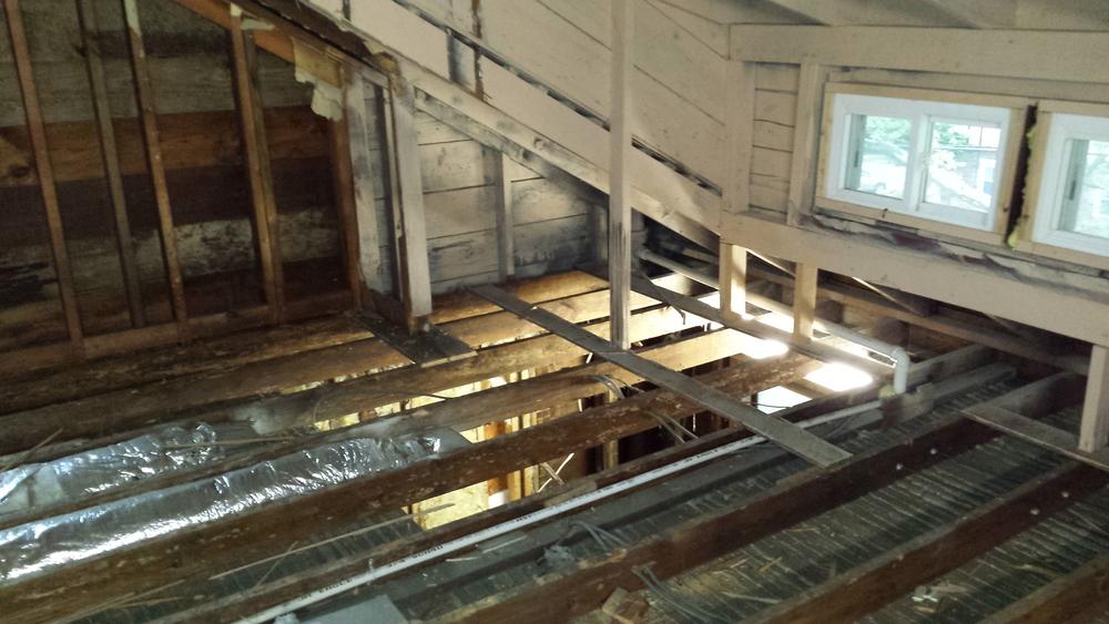 Post demo of attic and bathroom below.