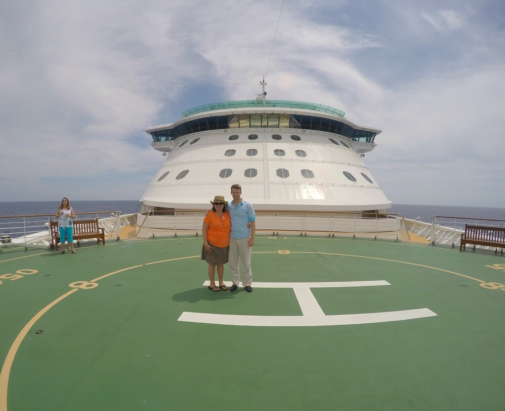 My mom and me on the ship's heliport!