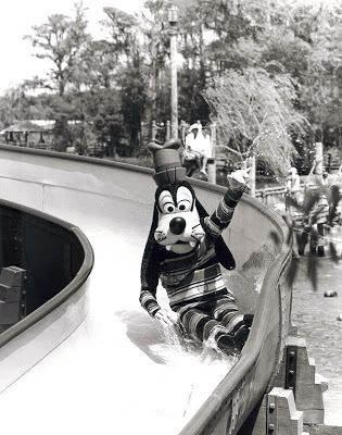 Goofy taking a ride down Whoop 'n Holler Hollow! Sure do hope his fur is waterproof… (Photo: © Disney)