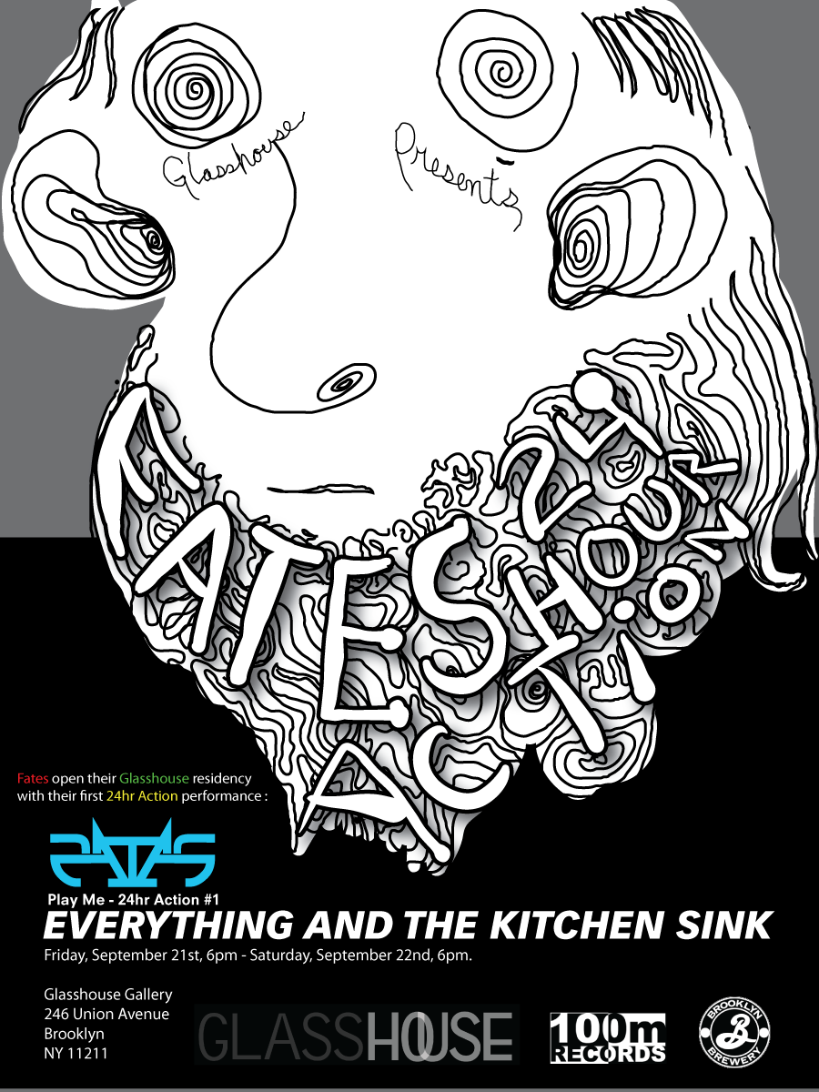 Poster for Fates 24 Hour Action residency at Glasshouse