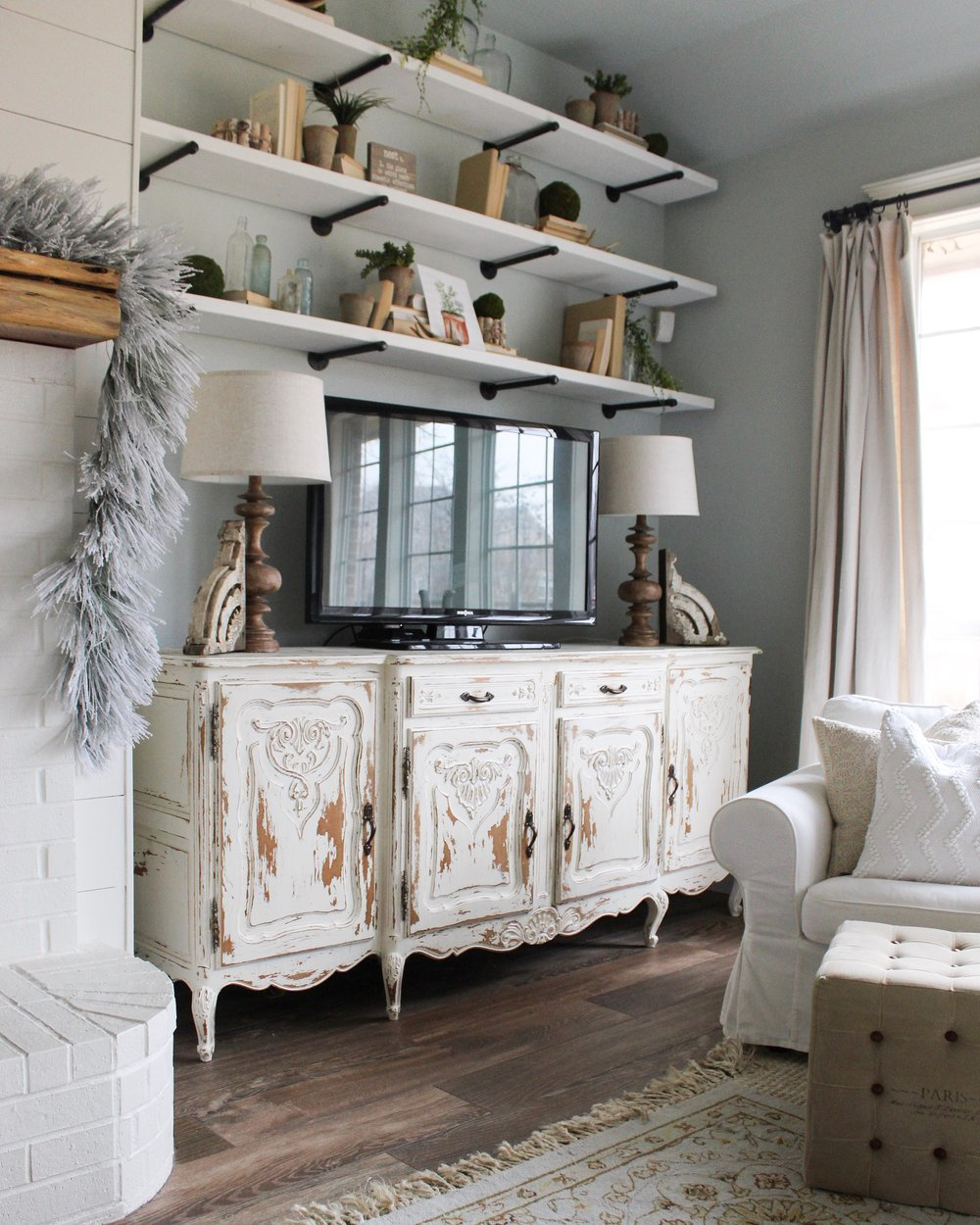 Distressed Farmhouse Living Room: Cotton Stem Interiors