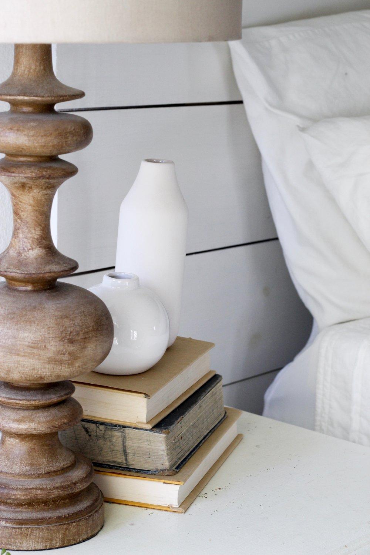 Cotton Stem Blog side table decor wood lamp vintage books
