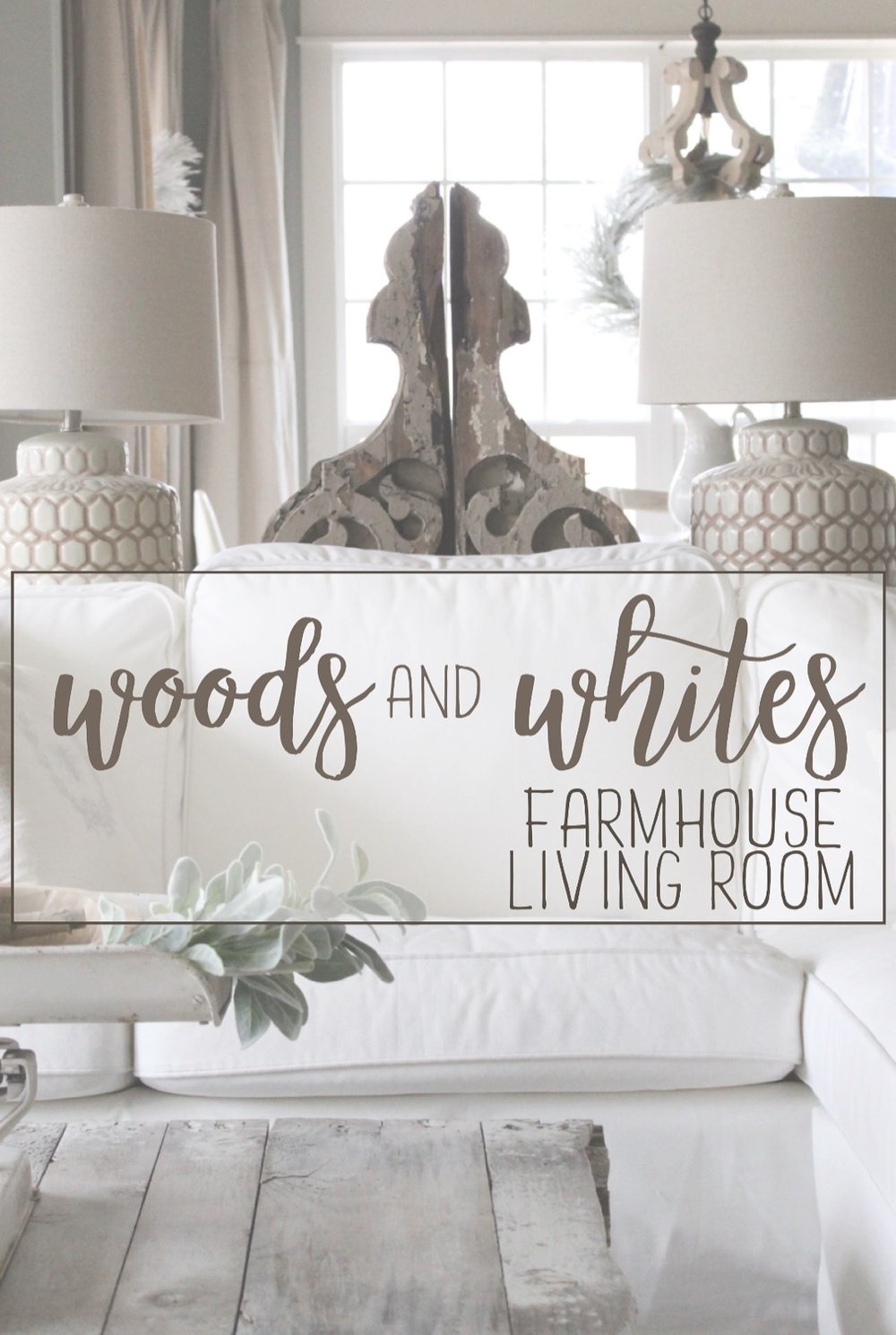 The Woods and Whites Home Tour: Farmhouse Living Room. - Cotton Stem