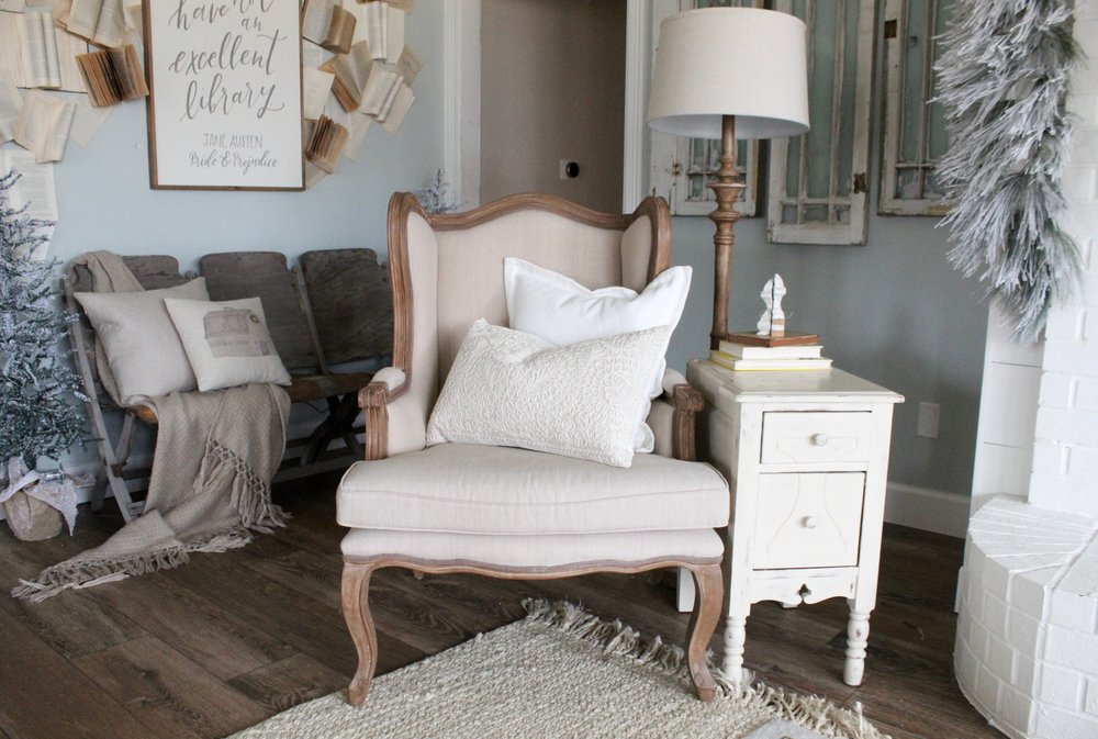 Cotton Stem Blog woods and whites farmhouse living room french chair