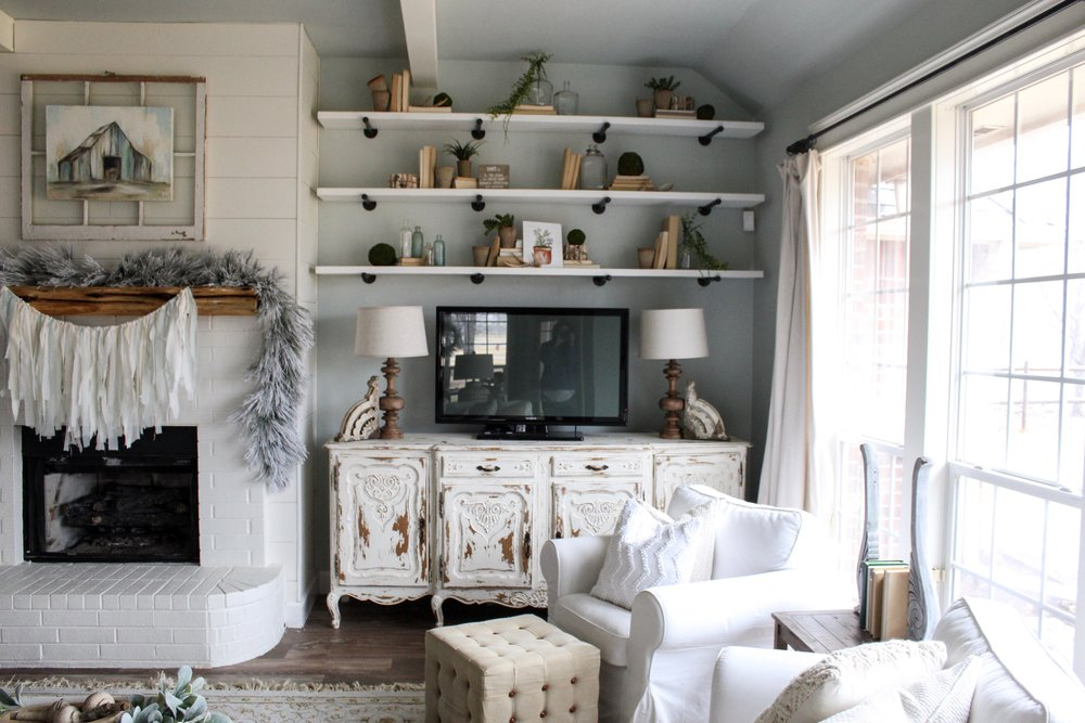 Cotton Stem Blog wood white decor farmhouse living room open shelves