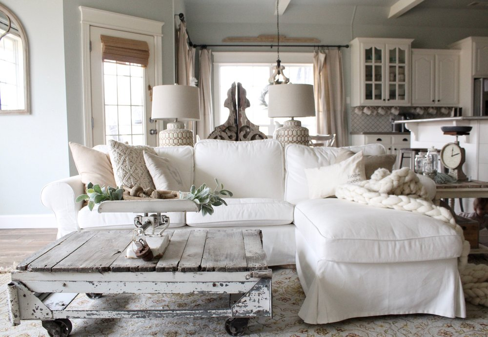 Cotton Stem Blog farmhouse living room wood white decor