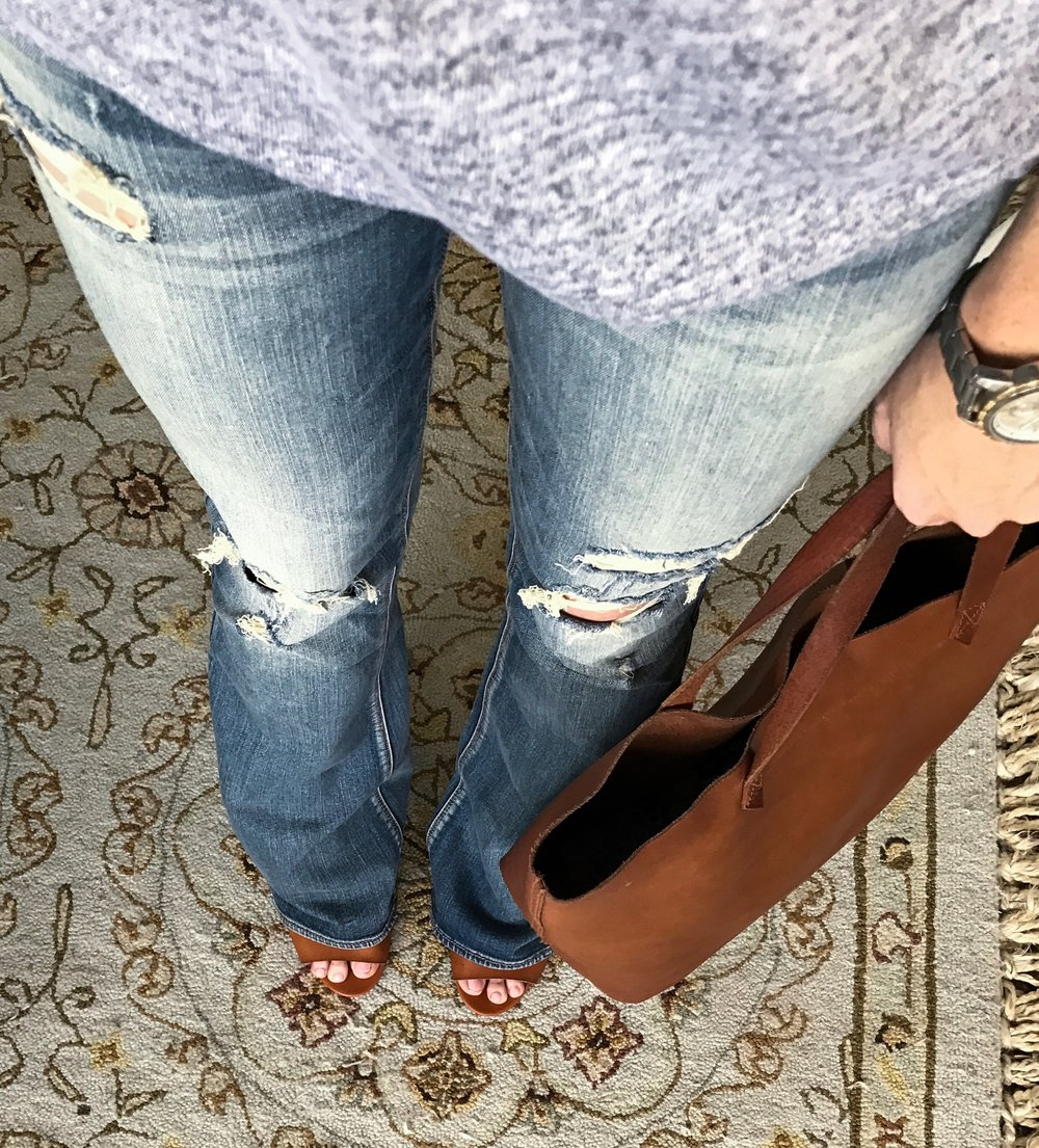 Cotton Stem Blog capsule wardrobe series flare jeans outfit