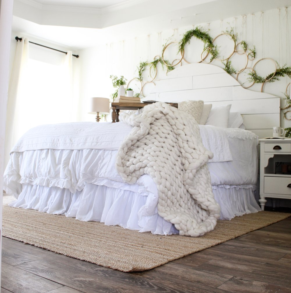 Cotton Stem Blog farmhouse bedroom white bedding spring decor wreath wall.jpg